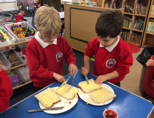 Jam sandwich making!