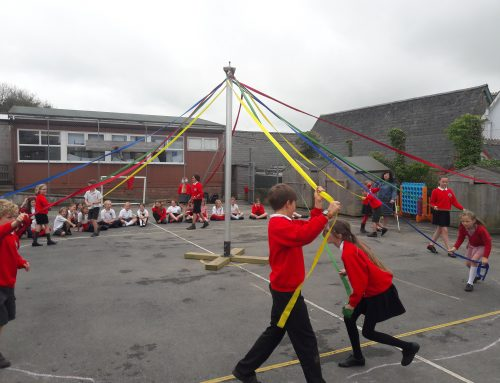 Preparing for the Maypole and Broom Dance